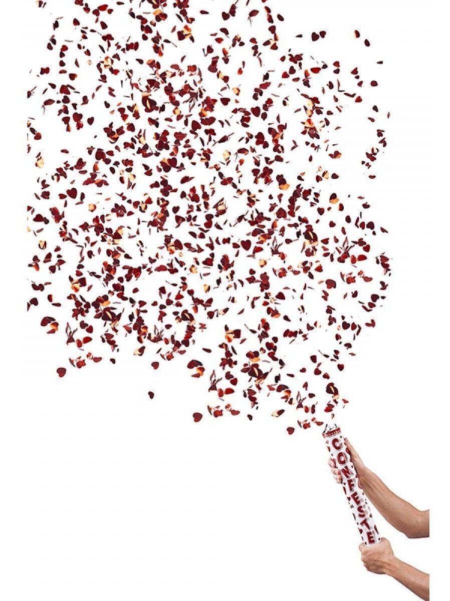5 Lança Confete Coração Metalizado Para Festas - Vermelho