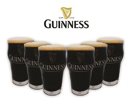 Jogo 06 Copos Cerveja Guinness Pint 473ml - Stout + Brinde