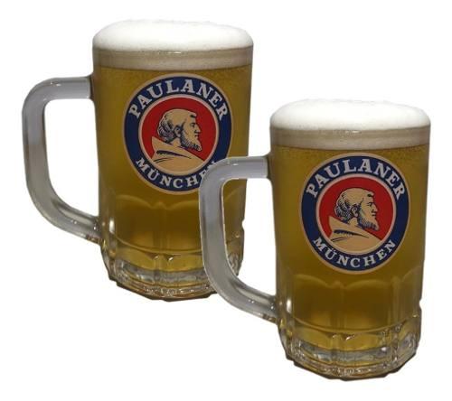 Kit 2 Canecas Para Cerveja Chopp Paulaner Munchen 370ml