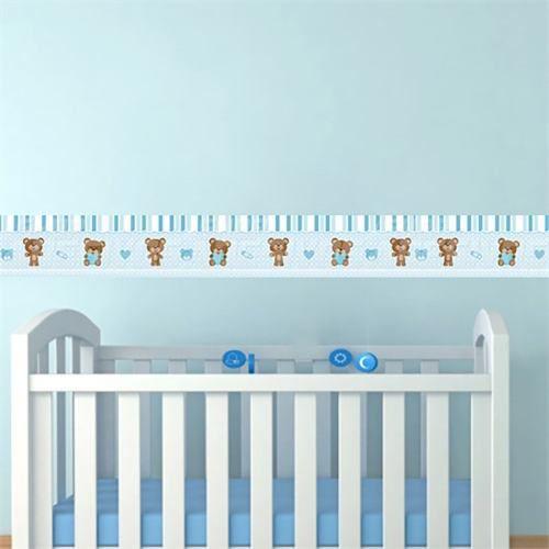 Adesivo Faixa Decorativa Kit 6 Quarto Infantil Ursinho Azul