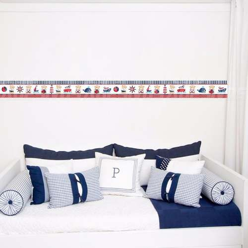 Adesivo Faixa Decorativa Kit 6 Quarto Ursinho Marinheiro