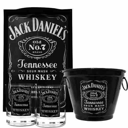 Bandeja JD + Balde + 2 Copos Whisky
