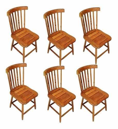 Kit 6 Cadeiras Madeira Rústica De Demolição Country Grande