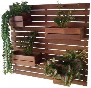Kit 2 Jardim Vertical 4 Cachepôs 100 X 80cm Imbuia + 12  Vasos