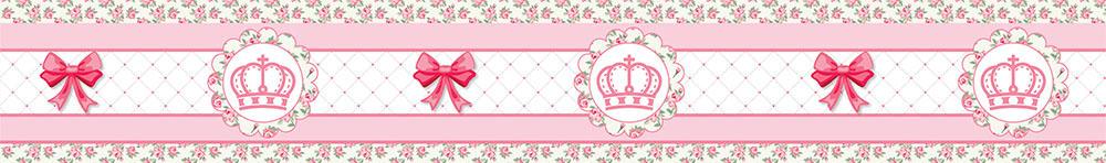 Adesivo de Parede Faixa Decorativa Para Quarto Infantil Coroa Floral 15x100