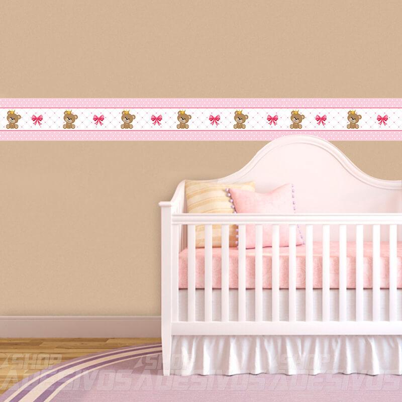 Adesivo de Parede Faixa Decorativa Para Quarto Infantil Ursinho Princesa