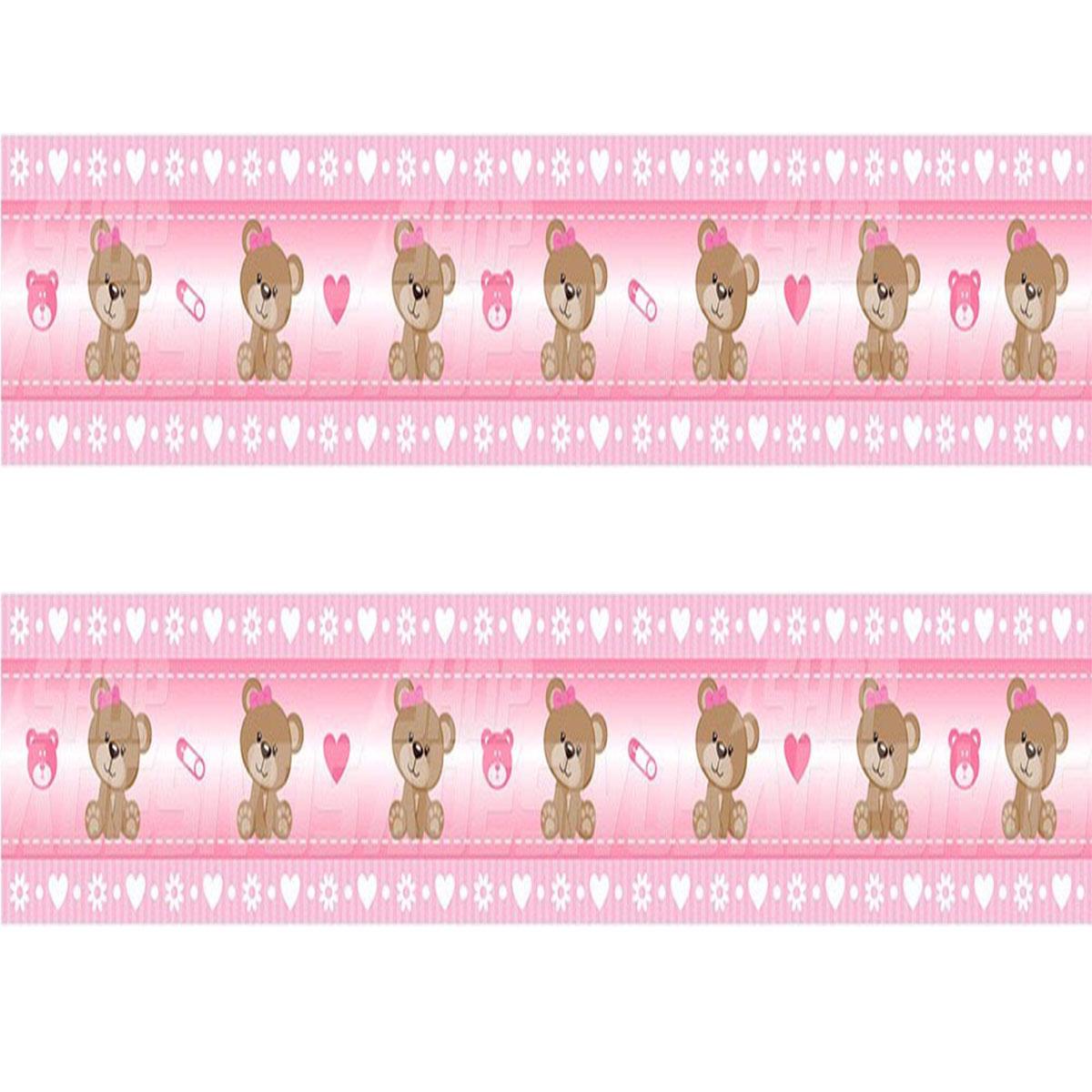 764d61890 Adesivo de Parede Faixa Decorativa Para Quarto Infantil Ursinho Rosa -  Decore Fácil Shop
