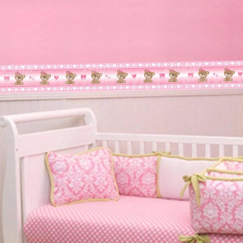 Adesivo de Parede Faixa Decorativa Para Quarto Infantil Ursinho Rosa