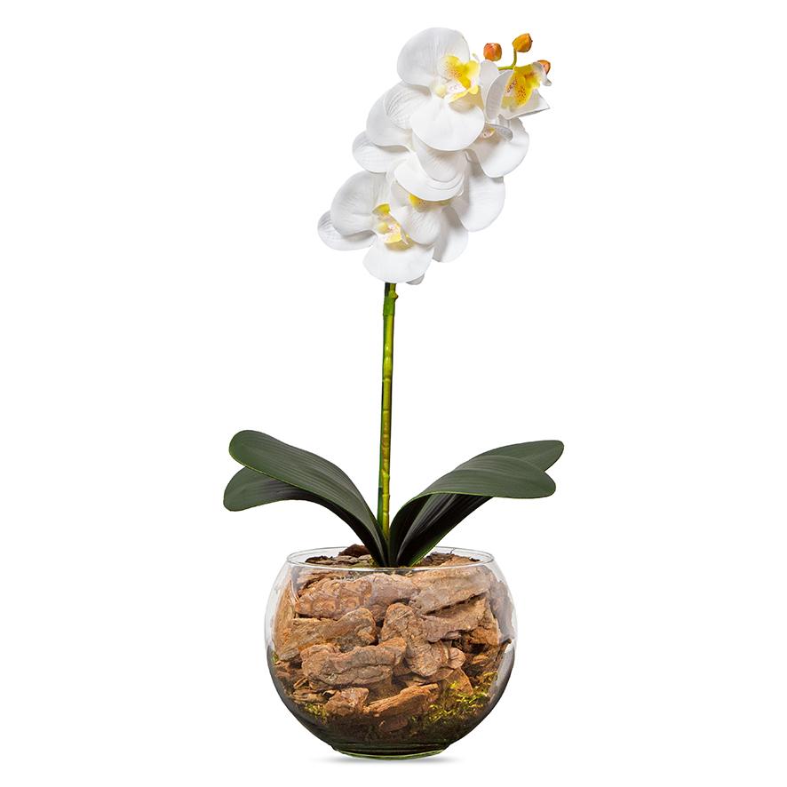 Arranjo Centro de Mesa Orquídea Branca Artificial Vaso Transparente