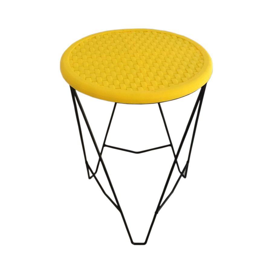 Banqueta Estilo Industrial Design Moderno em Aço e Assento Amarelo