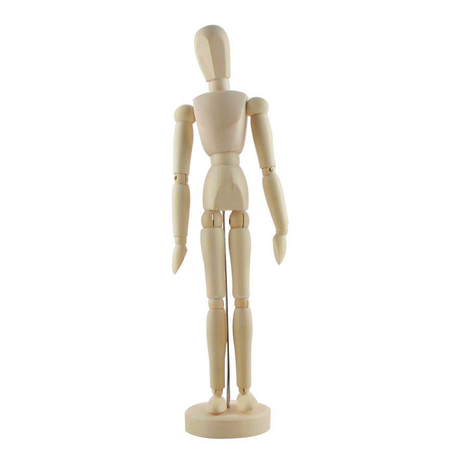Boneco de Madeira Articulado com 30cm Enfeite de Mesa
