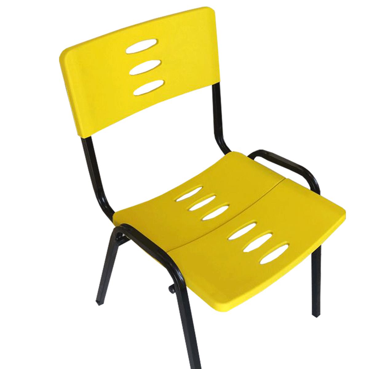 Cadeira Plástica Fixa Empilhável Preto / Amarelo / Vermelho