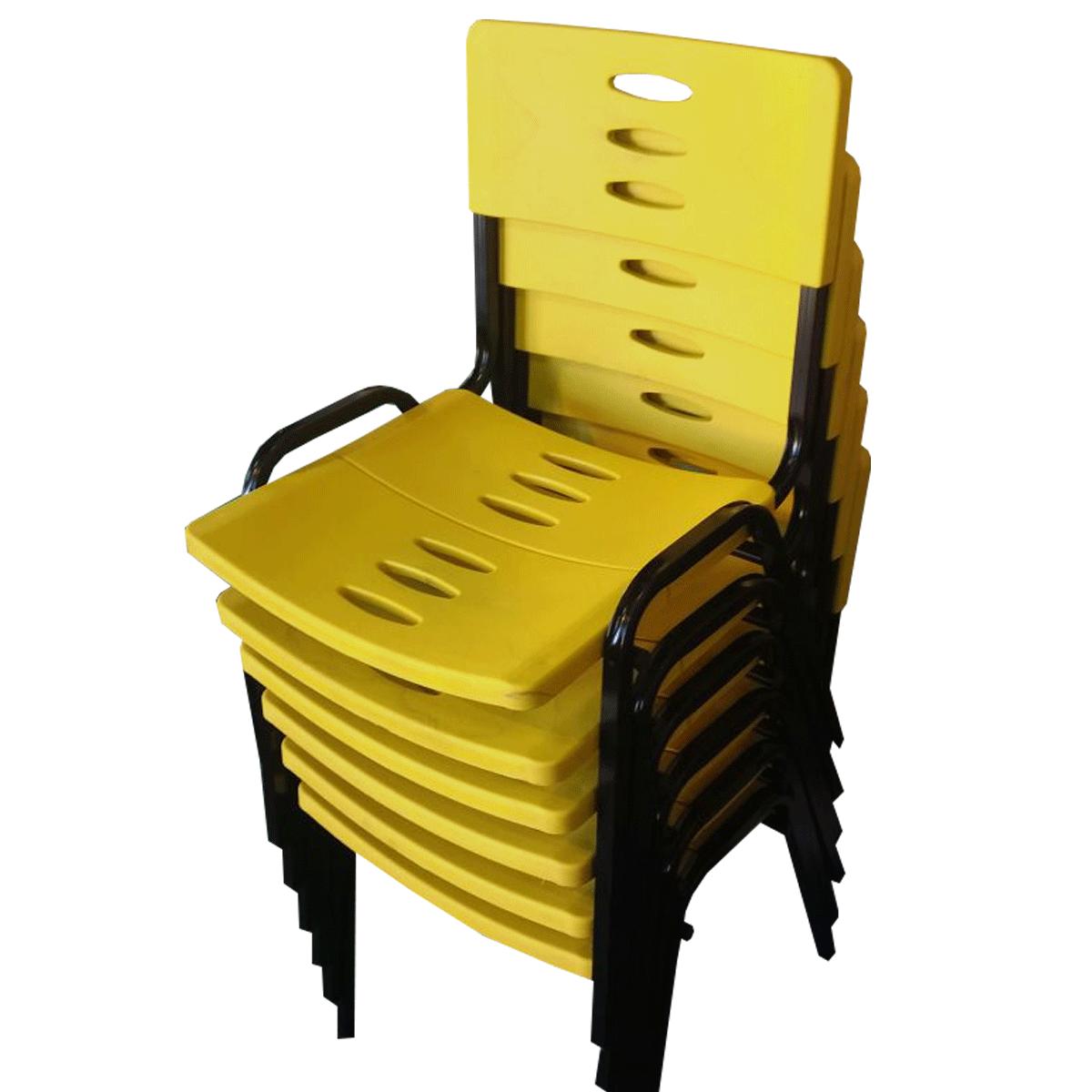 Cadeira Plástica Fixa Empilhável Preto com Amarelo