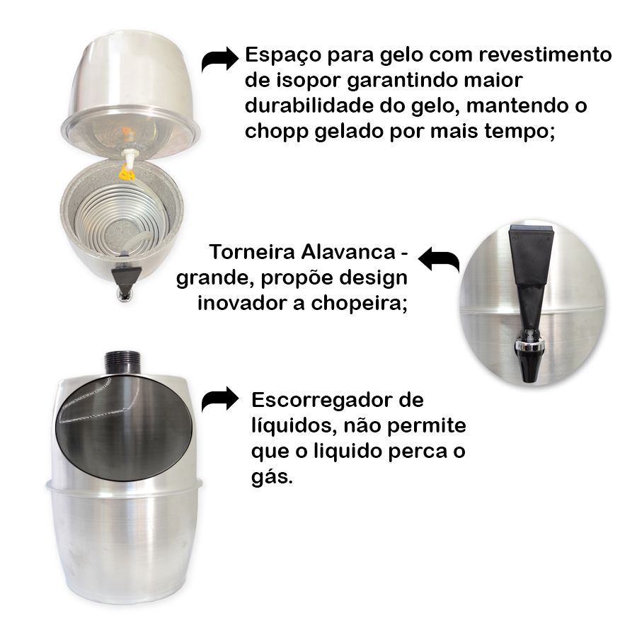 Chopeira Doméstica Portátil 5,2 Litros a Gelo Alumínio BRH Chopp Master