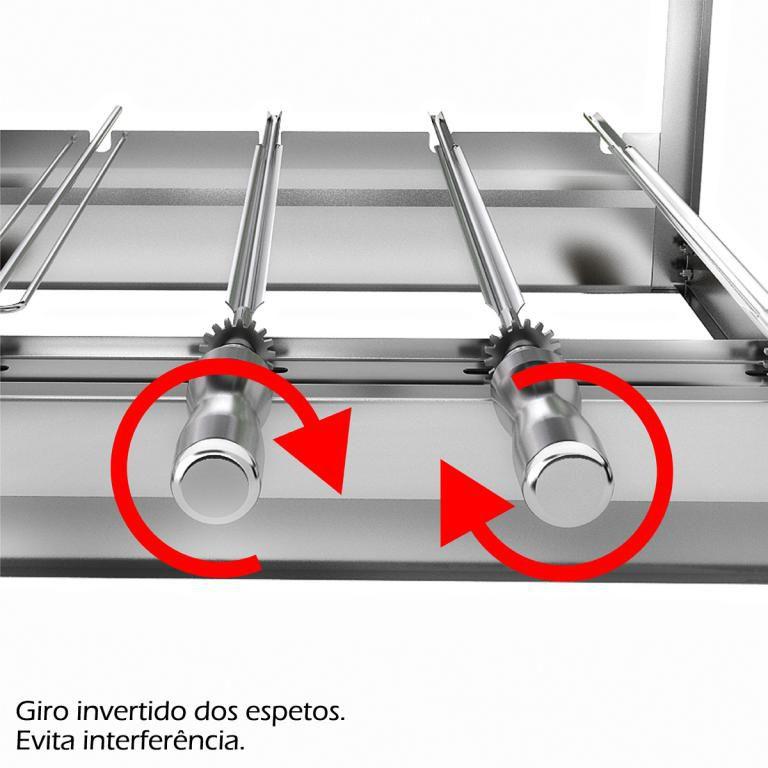 Churrasqueira Giratória 11 Espetos 2 Andares 37x82x45cm Bimotor Bivolt Lado Direito AG-11