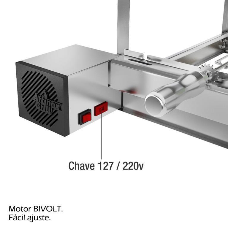Churrasqueira Giratória 7 Espetos 2 Andares 37x60x45cm Bimotor Bivolt Lado Direito AG-7