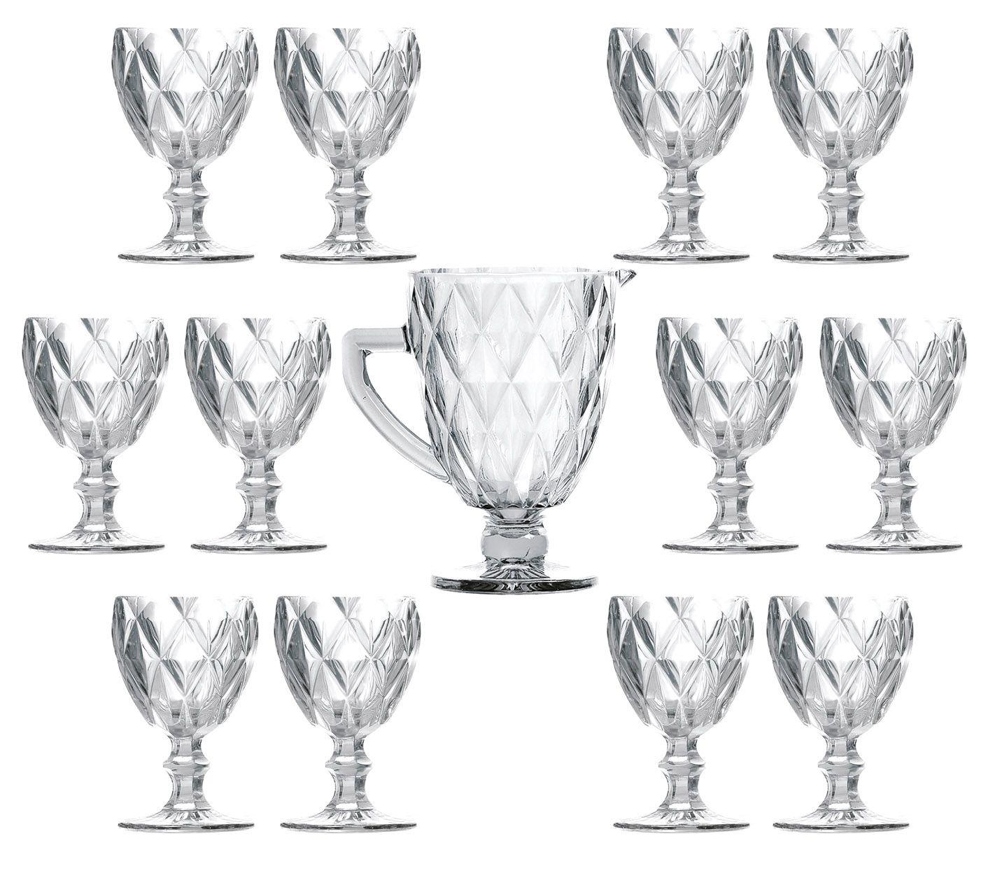 Conjunto 12 Taças De Água Diamante Transparente + 1 Jarra 1 Litro