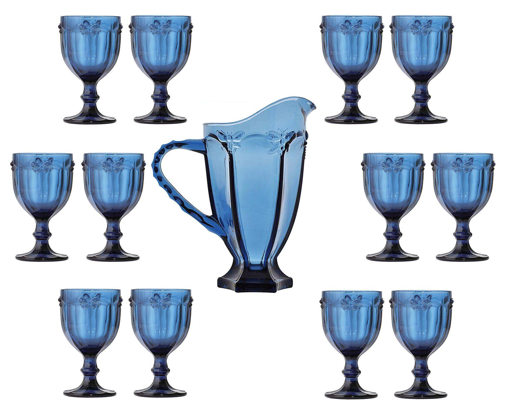 Conjunto 12 Taças De Água Libélula Azul + Jarra 1 Litro