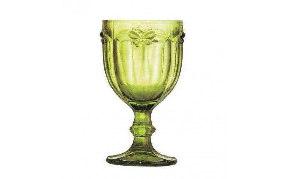 Conjunto 12 Taças De Água Libélula Verde + Jarra 1 Litro