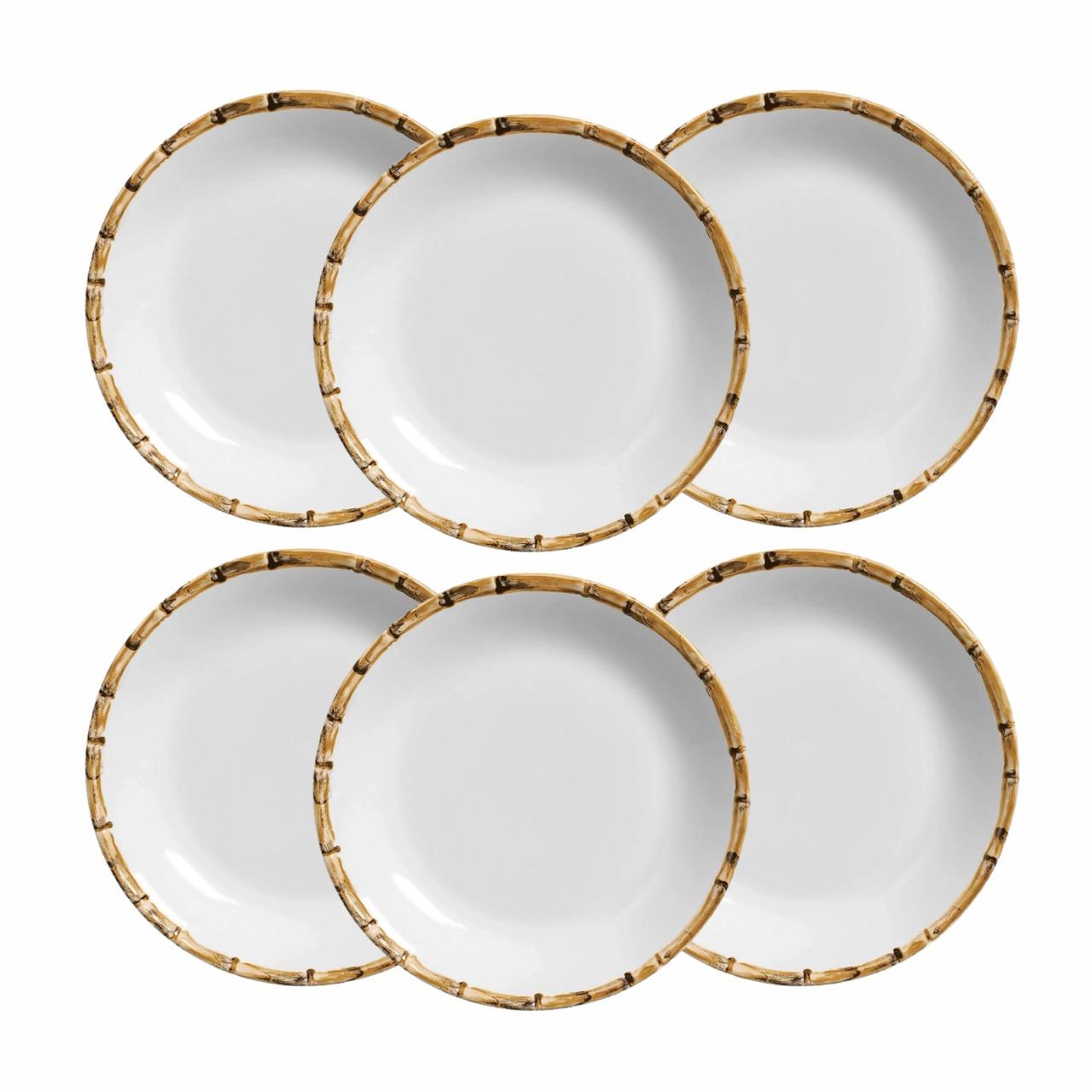Conjunto 6 Pratos de Sobremesa Cerâmica Detalhes Bambu 19,5cm