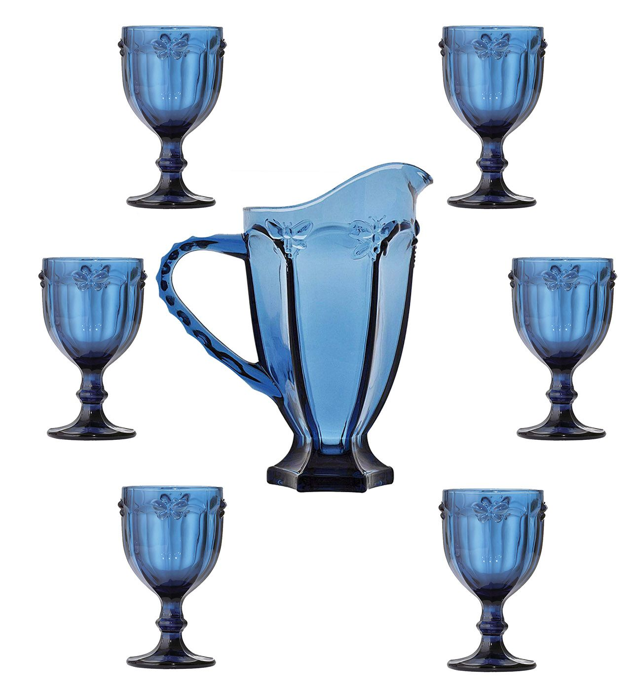 Conjunto 6 Taças De Água Libélula Azul + Jarra 1 Litro