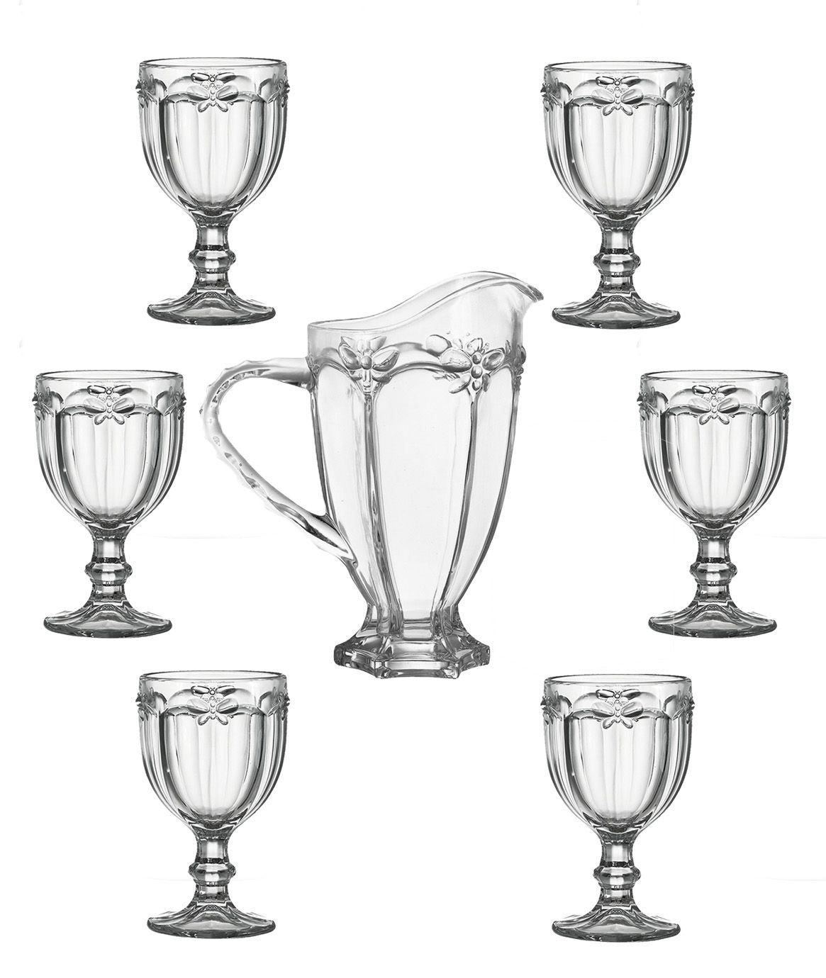Conjunto 6 Taças De Água Libélula Transparente + Jarra 1 Litro Elegance
