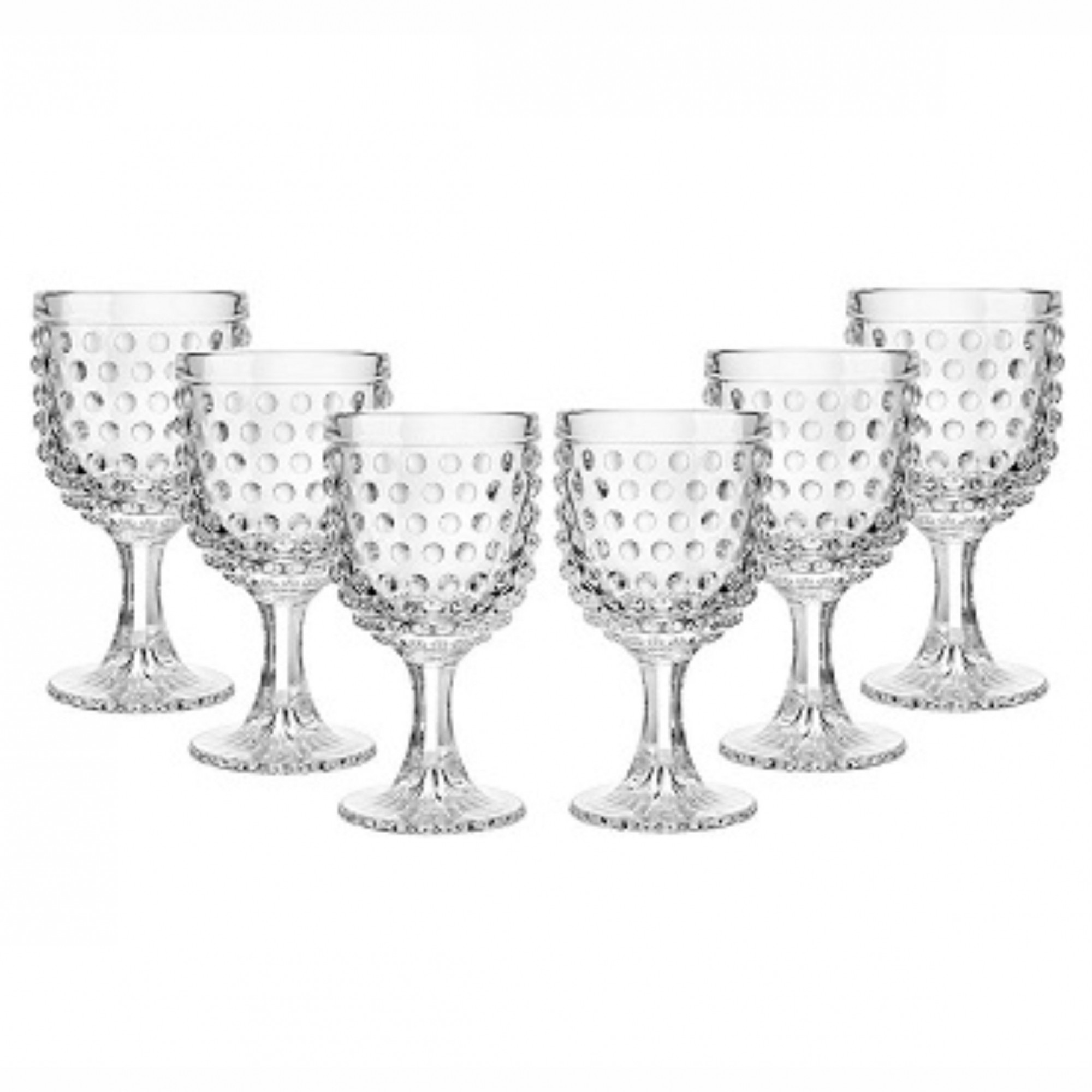 Conjunto 6 Taças de Vidro Modelo Bolinha 265ml