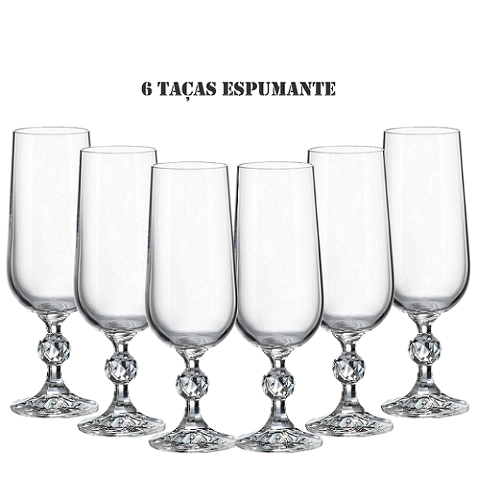 Conjunto 6 Taças para Champagne Cristal Bohemia 180 ml