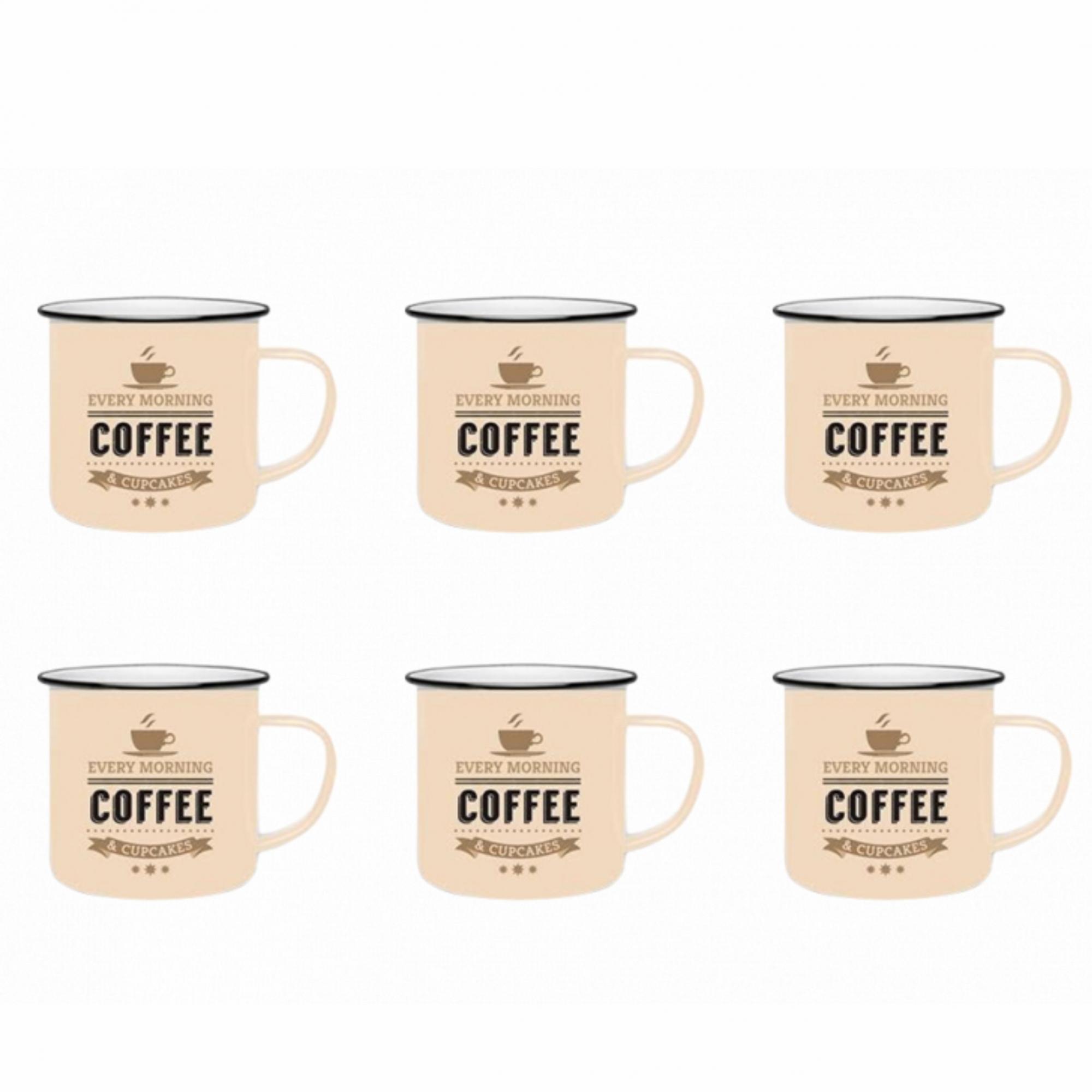 Conjunto com 6 Xícaras de Cerâmica para Café 60ml