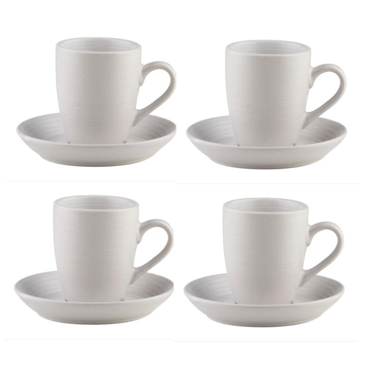 Conjunto de 4  Xícaras para Café Branco com Pires 90ml