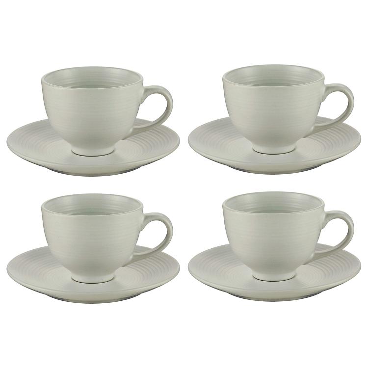 Conjunto de 4  Xícaras para Chá Branca com Pires 195ml
