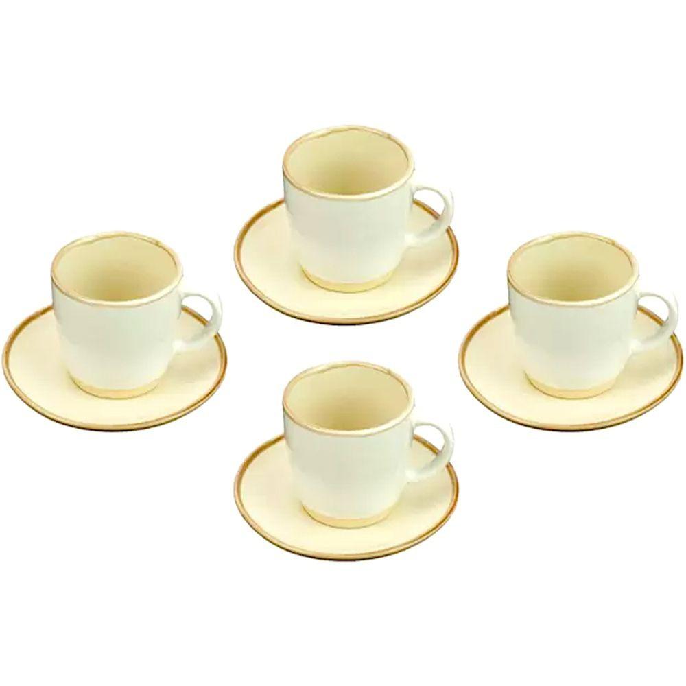 Conjunto de 4  Xícaras para Chá Off White com Pires 115ml