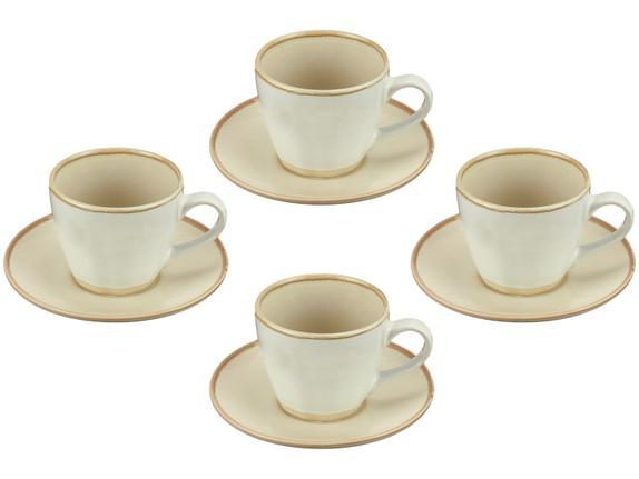 Conjunto de 4  Xícaras para Chá Off White com Pires 185ml