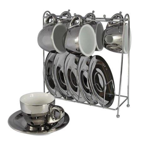 Conjunto de 6  Xícaras para Café Prata com Pires e Suporte 90ml