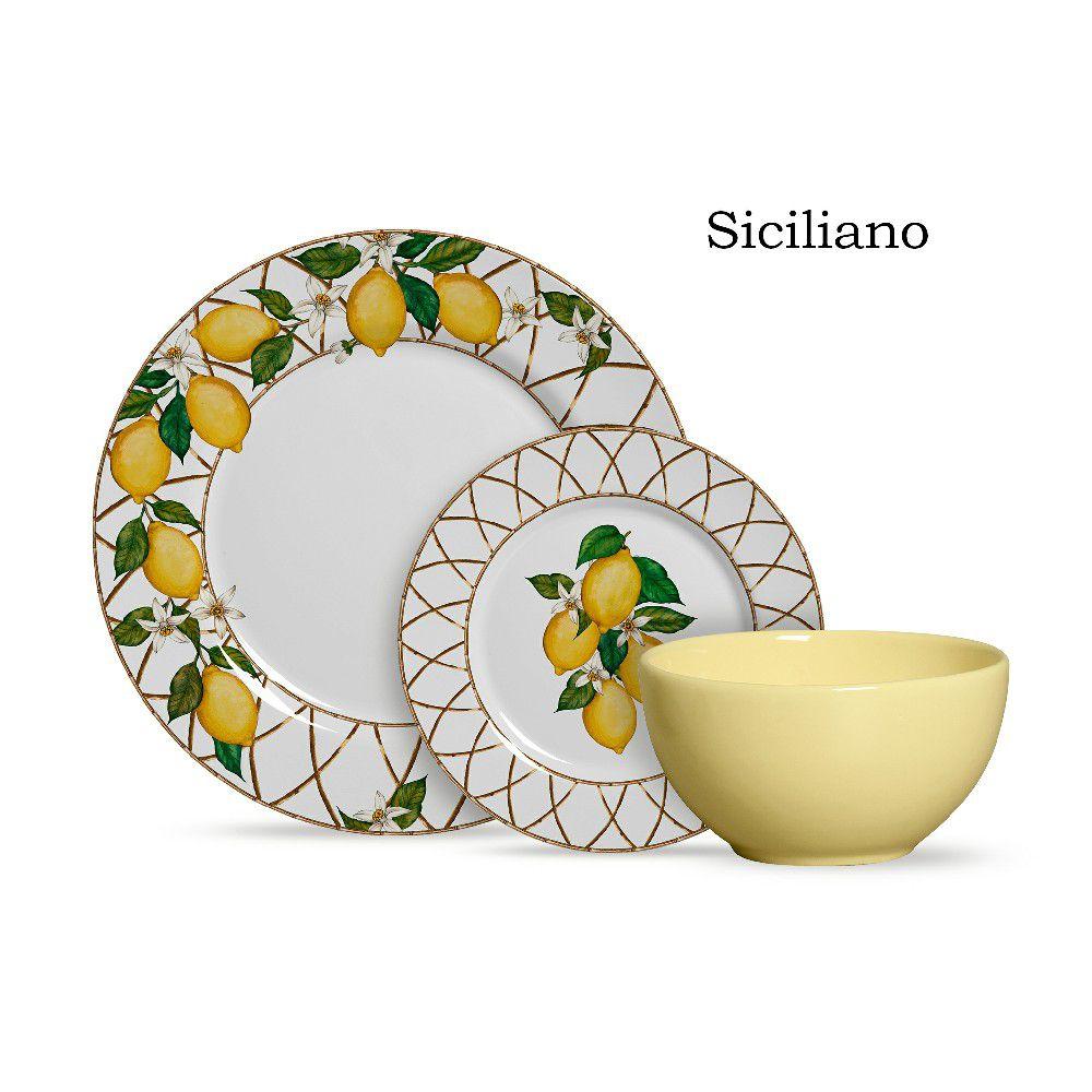 Conjunto de Jantar Cerâmica 12 peças Limão Siciliano  Alleanza