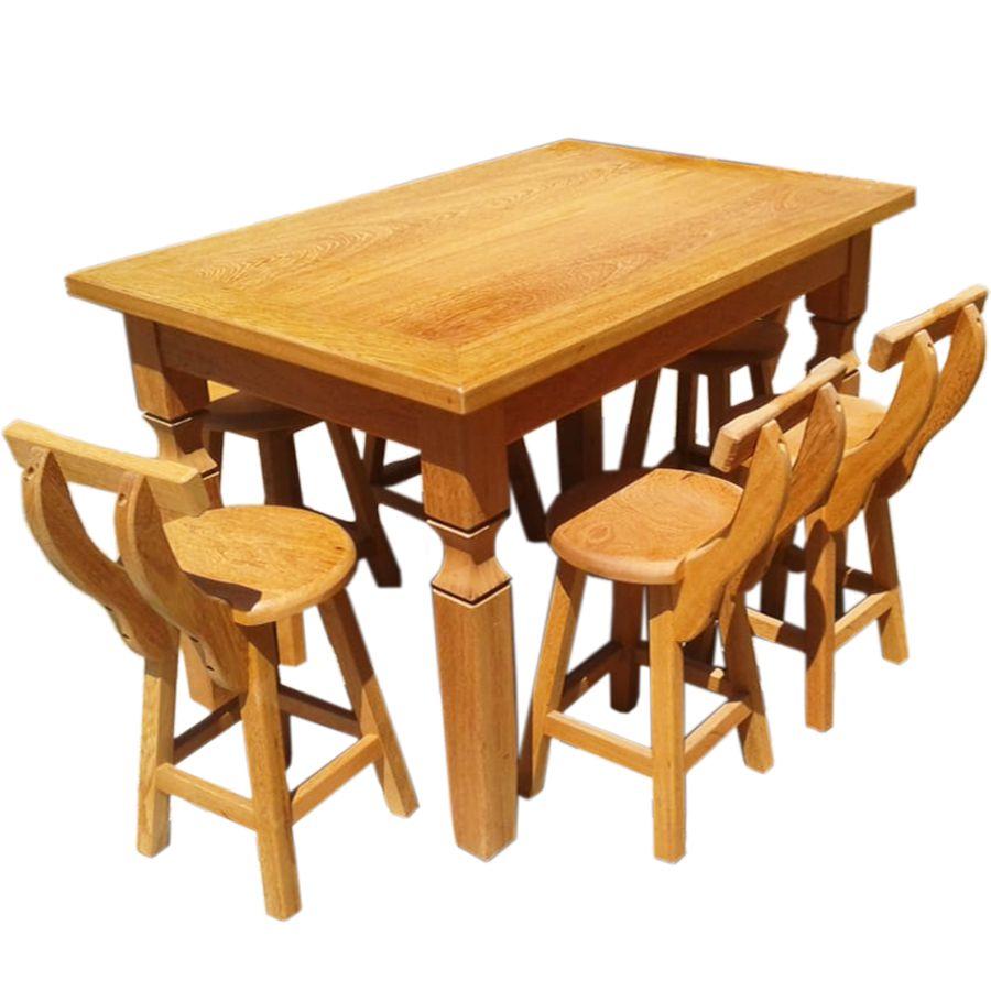 Conjunto Mesa de Jantar 1,4 metros 6 Cadeiras Country Madeira Angelin