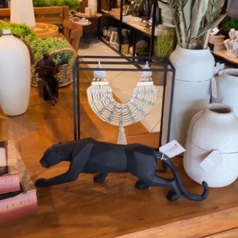 Enfeite Decorativo Escultura Leopardo Preto 44cm