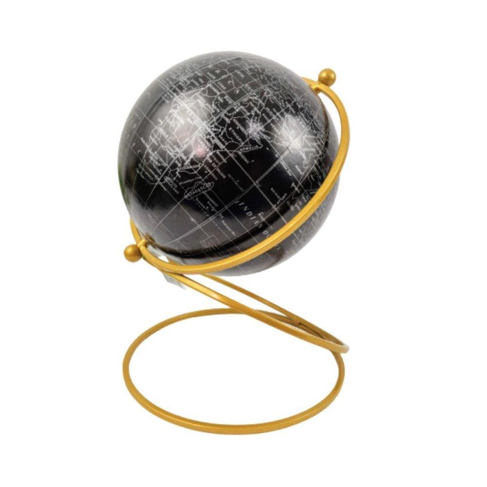 Enfeite Decorativo  Globo Terrestre de Resina e Metal 25cm Preto e Dourado