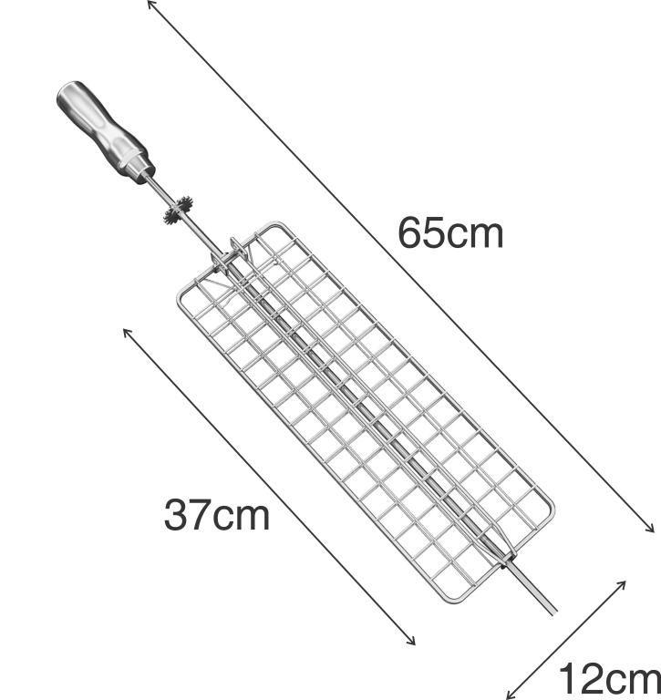 Kit 4 Espetos Cabo Inox p/ Giragrill Artinoxgrill Tridente Espada Espalhador Grelha Plana