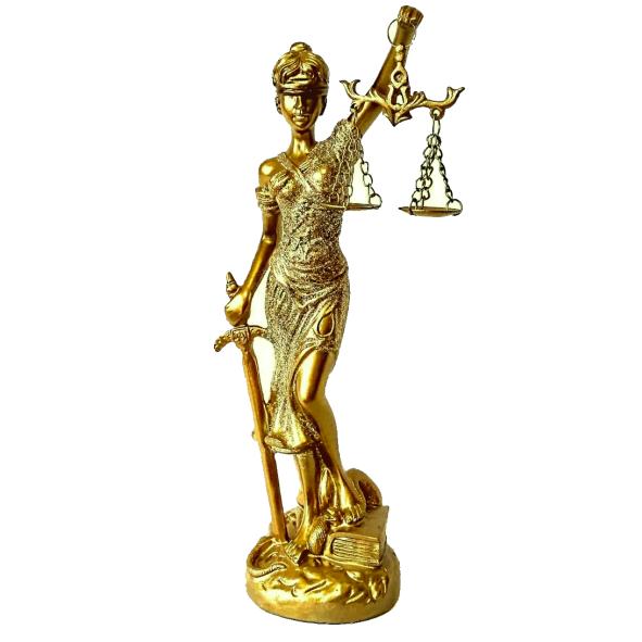 Estátua Dourada Dama da Justiça Direito 24cm