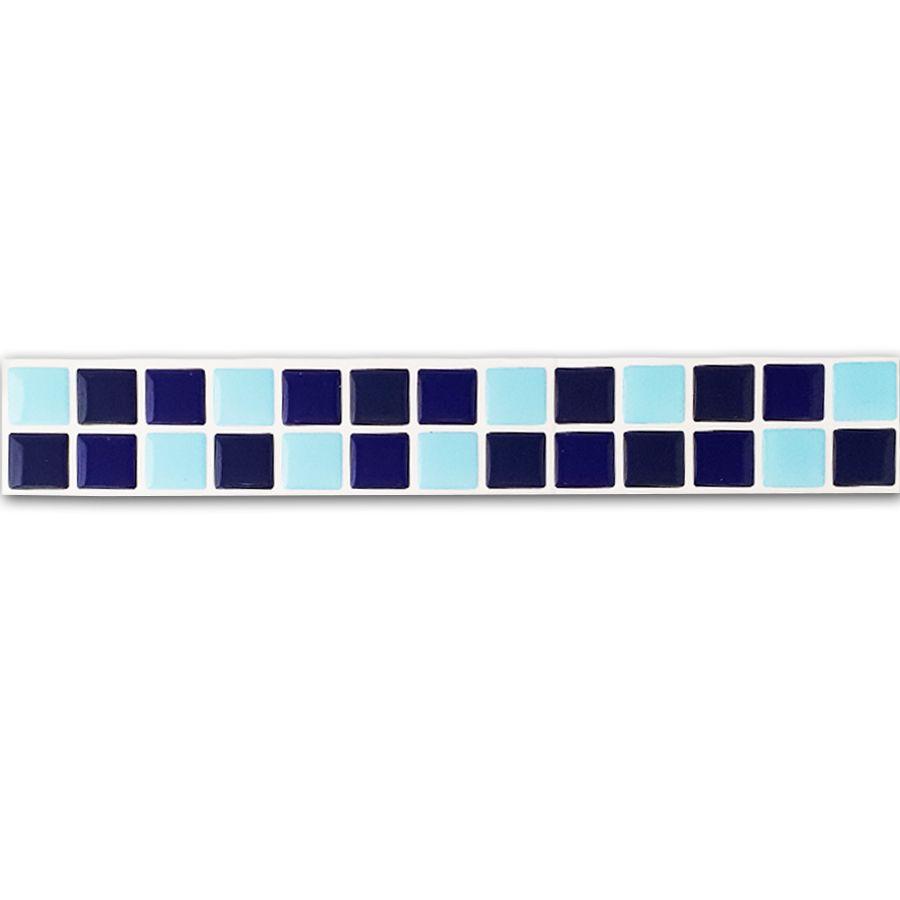 Pastilha Adesiva Resinada Faixa 4,3cm Mosaico Tons de Azuis Fundo Branco