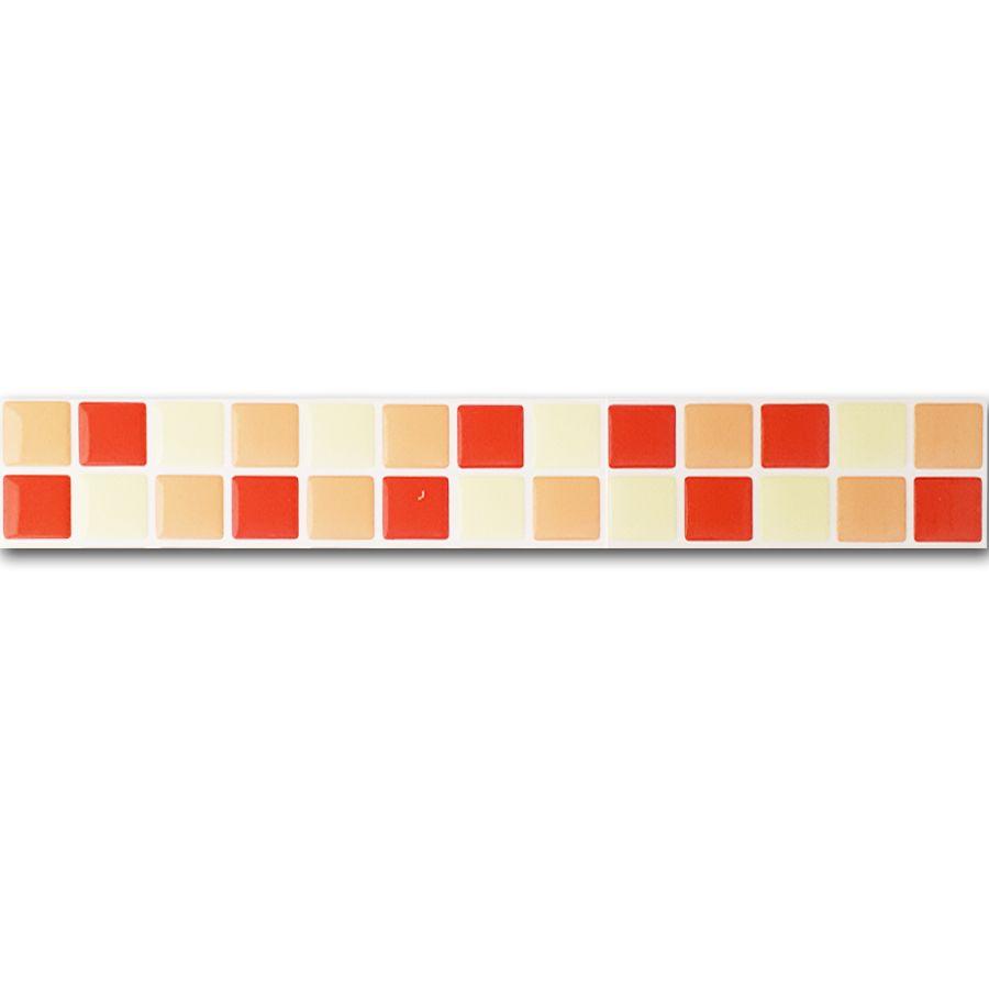 Pastilha Adesiva Resinada Faixa 4,3cm Mosaico Tons de Laranja Fundo Branco