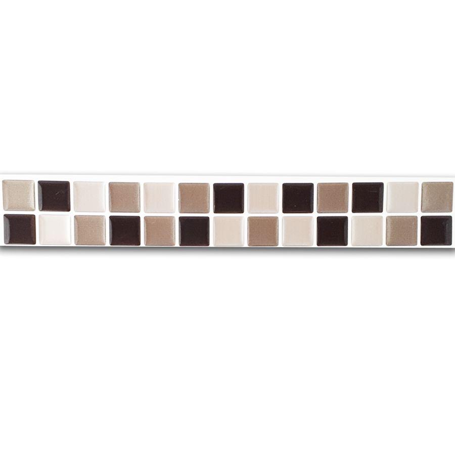 Pastilha Adesiva Resinada Faixa 4,3cm Mosaico Preto X Cinza X Aço Escovado Fundo Branco