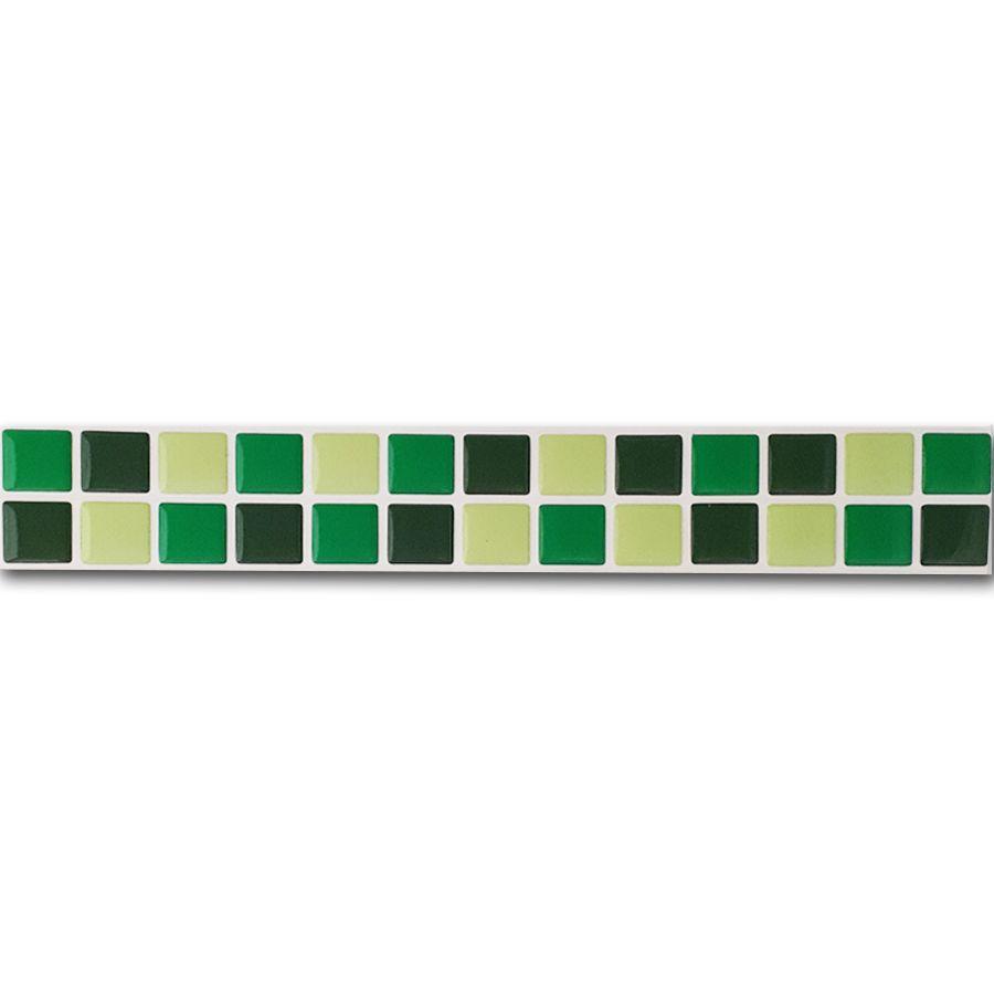 Pastilha Adesiva Resinada Faixa 4,3cm Mosaico Tons De Verdes Fundo Branco