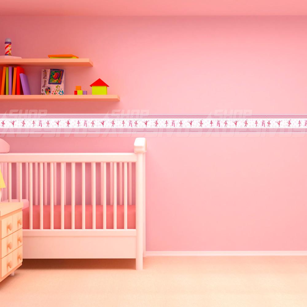 Adesivo de Parede Faixa Decorativa Para Quarto Infantil Bailarina