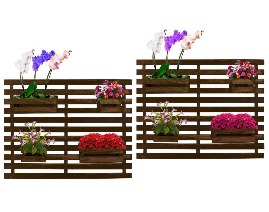 Floreira Jardim Vertical Madeira 100 x 82cm 4 Cachepôs Cor Imbuia - Kit com 2
