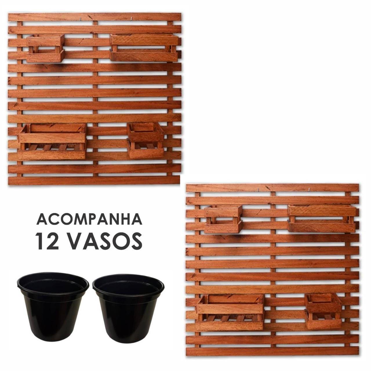 Floreira Vertical Madeira 100 x 82cm Natural + 12 Vasos