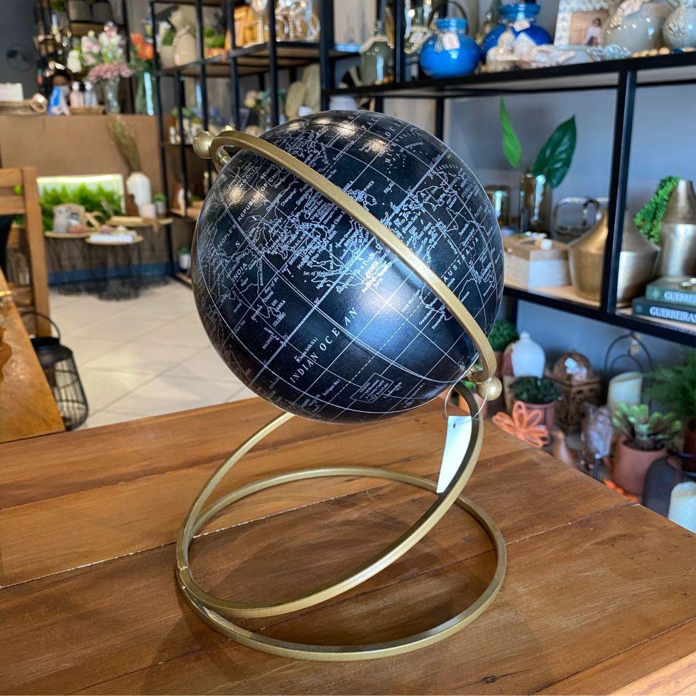 Globo Decorativo de Resina e Metal 25cm Preto e Dourado