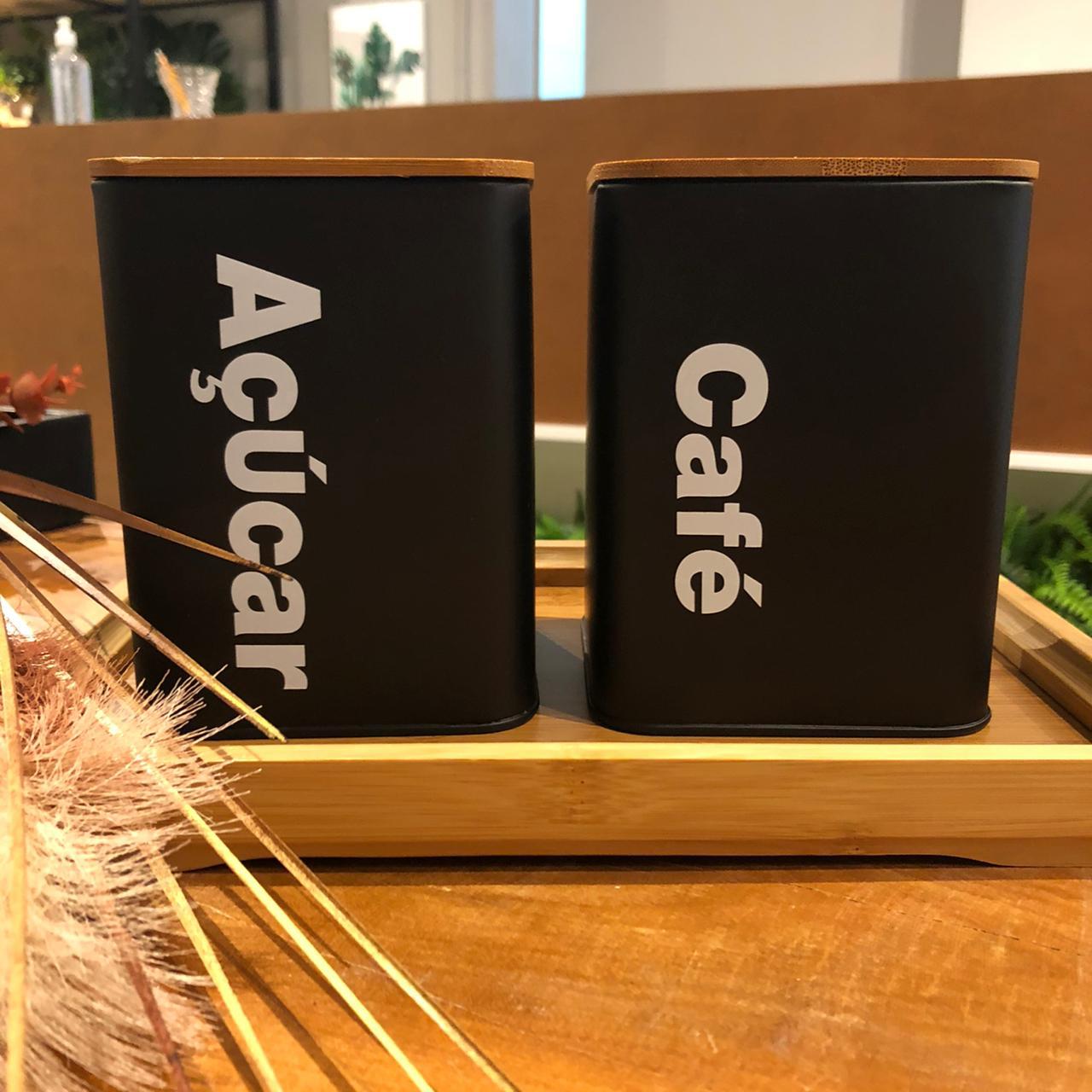 Jogo 2 Latas Pretas com Tampa em Bambu Café e Açúcar