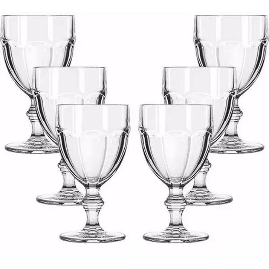 Jogo 6 Taças De Água Vinho 310ml Country Vidro Transparente Casual